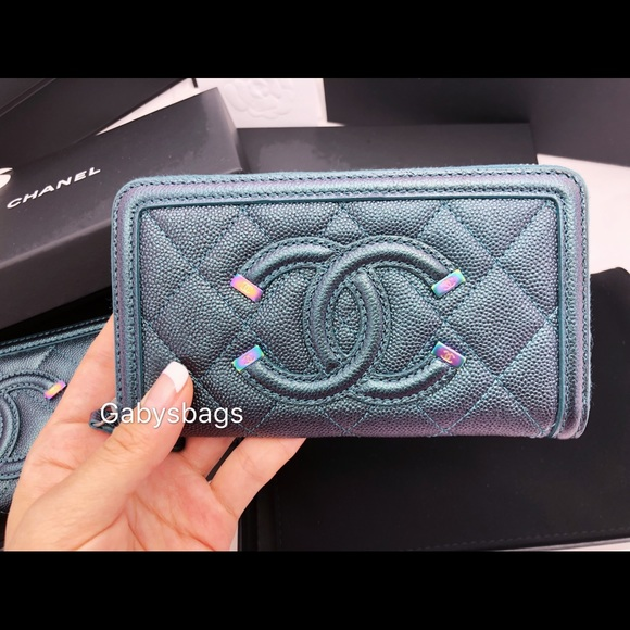 2676bcdc7b25e3 CHANEL Bags | Iridescent Turquoise Zip Wallet Rainbow Hw | Poshmark